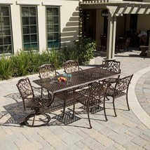 Outdoor Ornate Expandable Table and Six Chairs Set Cast Aluminum Patio D... - £1,658.52 GBP