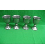 Vintage Set of Four (4) Pewter Wine Water Stemmed Goblets - $20.53
