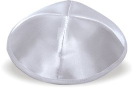 Judaica Pale Silver Gray Satin Kippah Lightweight 20 cm Israel Jewish Tradition image 1