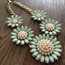 Charming Charlie Statement Necklace Mint Green Flowers Faux Pearls Goldtone - $7.87
