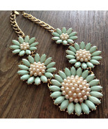 Charming Charlie Statement Necklace Mint Green Flowers Faux Pearls Goldtone - £6.01 GBP
