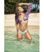 Mapale Aqua & Pink Palm Print 3/4 Sleeve Bikini w/ Thong Back Swimsuit 6584 - $37.99