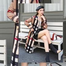 Women DoubleBreasted High Fashion Style Broadcloth Plaid Trench Coat image 3
