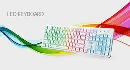 Actto Korean English USB Wired Keyboard LED Backlight Membrane Keyboard (White) image 3