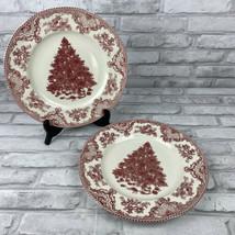"Johnson Bros 2 Pink Christmas Tree Old Britain Castles Dinner Plates 10.5"" - $29.02"