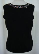 LINDA LUCIA Black Knit Tank Top Embroidered Floral Neckline Slim Fit Size XL - $12.73