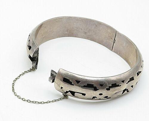 JLA MEXICO 925 Silver - Vintage Cutout Pattern Round Bangle Bracelet - B5316 image 3