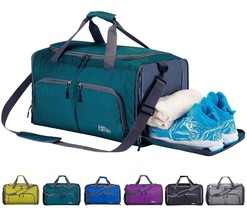 FANCYOUT Foldable Sports Gym Bag with Shoes Compartment & Wet Pocket Lig... - $38.08 CAD