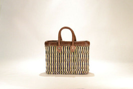 Hand woven market basket. Small. Blue/Natural Stripe.  - $29.00