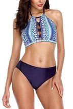 Vegatos Women High Neck Crop Bikini Swimsuit Cut Out 2 Piece Padded Beac... - $20.57