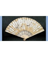 antique BURNS RICE PAPER AND LACE WOMANS HANDHELD FAN 6th & 44th NEW YORK - $87.95