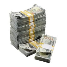 PROP MOVIE MONEY - New Series $100,000 Aged Full Print Prop Money Package - $269.99