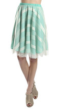Geometric Stripe Full Skirt in Mint Green & Cream- Retro Inspired Style - $24.99