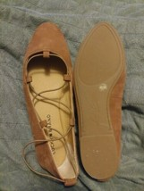 Lucky Brand Women Aviee Ballet Flats Shoes 6M Toffee Brown Leather Elast... - $22.52