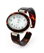 Tortoise Silver Acrylic Band Geneva Oval Case Women's Bangle Cuff Watch - $19.99