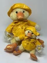 """Commonwealth Pair Plush Yellow Duck Stuffed Animals 11"""" &  6"""" Raincoat H... - $21.78"""