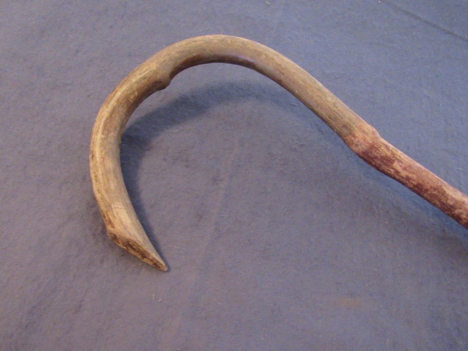 Vintage Hand Carved Wood Cane Walking Stick Knotty Bent Wood 33.25""