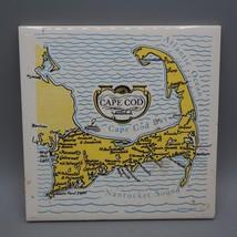 Vintage Screencraft von Hand Dekoriert Keramik Cape COD Karte Tile Dreifuß - $24.75