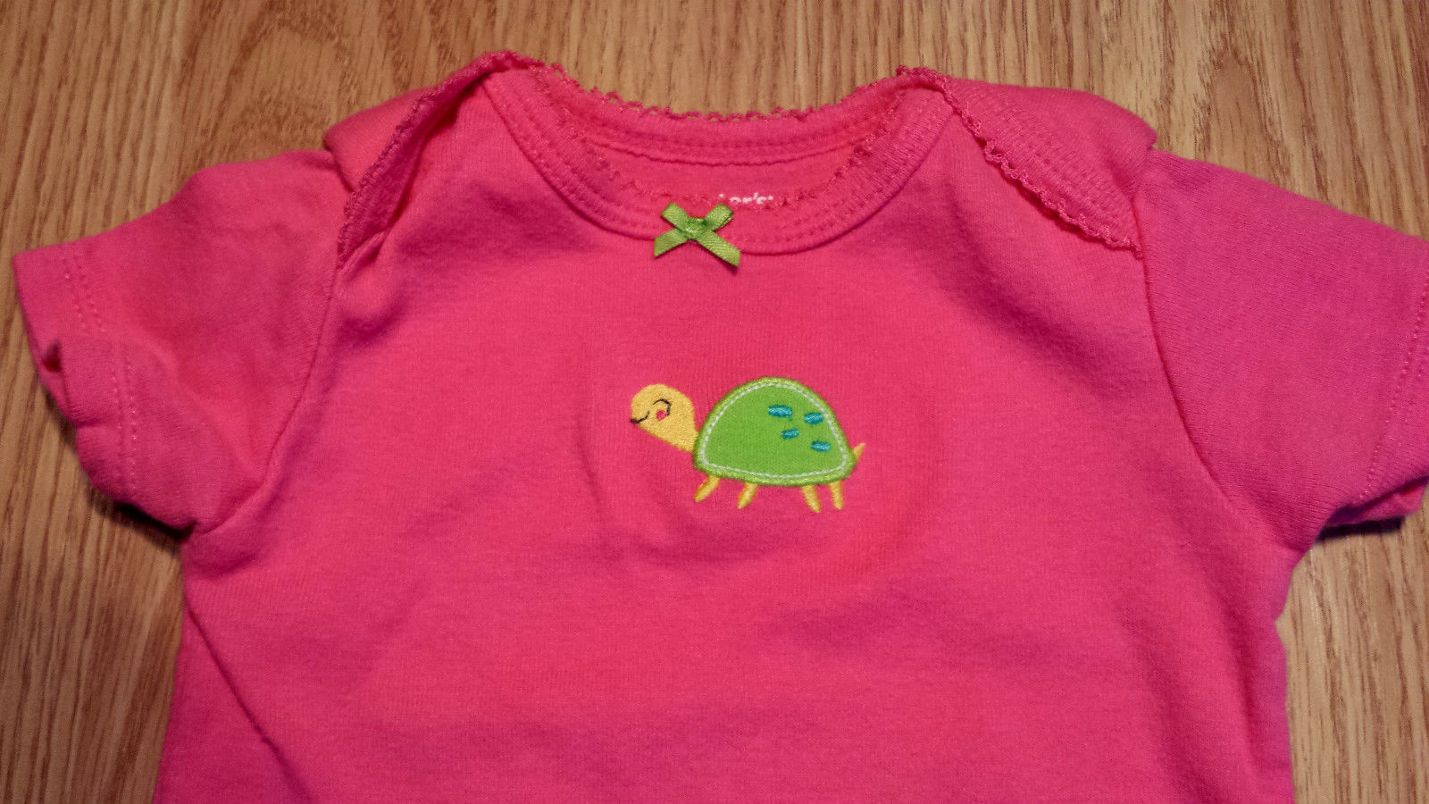 Girl's Size 9 M Months Two Pc Carter's Pink Turtle Embroid Top & Striped Pants