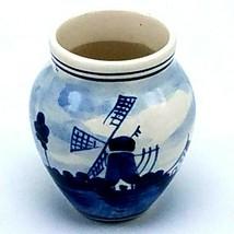 "Delft 148 Vase Bourgeon Miniature 3 "" Grand Holland Bleu & Blanc Moulin Scene - $9.95"