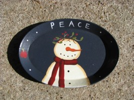 Wood Oval Plate  OPS-8 Snowman  - $3.50