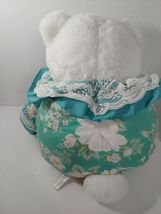 Enesco Plush white teddy bear green floral flowers outfit lace collar pink nose image 9