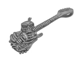 Skeleton Play Guitar Crazy Punk Rock Sterling Silver Pendant charm Jewelry New - $36.88