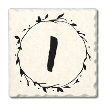 """Highland Home 4 Scripted Monogram Coasters""""I"""" w/wire holder - $23.99"""