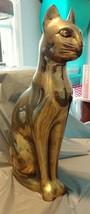 """BEAUTIFUL Large 15.5"""" Vintage BRASS CAT Figurine Statue - $29.02"""