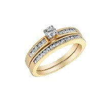 18K Yellow Gold Plated 925 Sterling Silver Round Cut CZ Wedding Bridal Ring Set - $75.67
