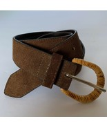 Brown suede belt Rattan Wrapped covered Buckle Boho Size Medium Made In USA - $13.86