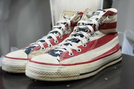 vintage converse made in USA 7 flag print 80's 90's Chuck Taylor high to... - $70.00