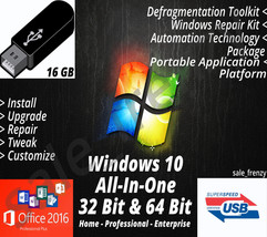 Windows 10 AIO USB Flash Drive 32 & 64 Bit Recovery Upgrade Install Rein... - $14.99+