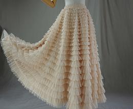 Women High Waist Tiered Tulle Skirt Polka Dot Champagne Maxi Tutu Skirt US0-US24 image 4