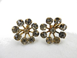 Vintage Costume Jewelry, Gold Tone, Screw Back Crystal Starburst Earring... - $6.81