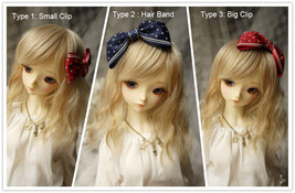 Ribbon Bow Knot Hair Band or Clips for BJD SD and MSD Dolls 5 Colors Ava... - $8.90