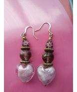 Handmade Pink Dangle Heart Earrings - £4.54 GBP