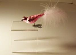 Christmas Ornament Bird Figure Pink Iridescent Feathers  - $5.99