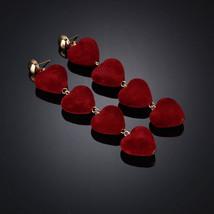 BAHYHAQ - Plush Heart Stud Long Earrings Fashion Jewelry - $2.40