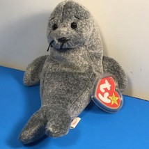 1996 B EAN Ie Babies Plush Stuffed Animal Retired Ty Tag Slippery Seal Hologram - $19.75