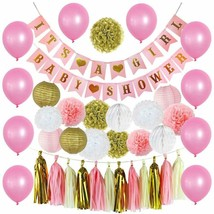 Premium Baby Shower Decorations for Girls Pink and Gold 39 Piece SET BAB... - $18.70