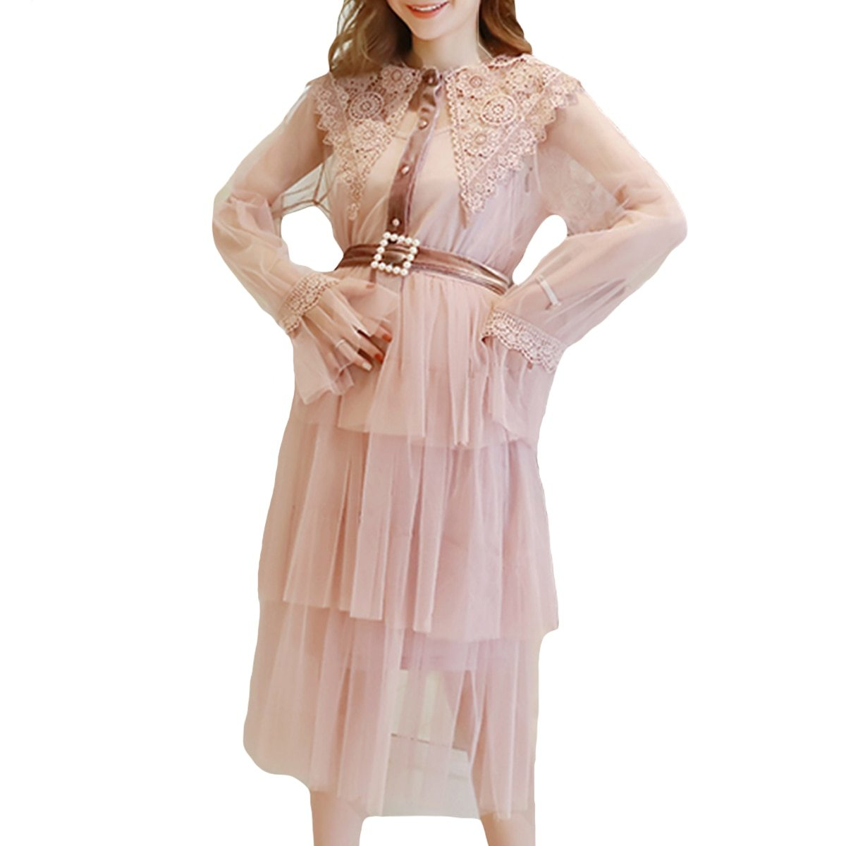 Maternity Dress Solid Color Lace Patchwork Waist Tied Dress