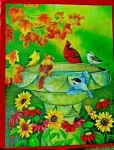 "Suns Out 1000 Pc. Jigsaw Puzzle Autumn Birdbath 27"" X 35"" Larger Pieces Complete! - $9.99"