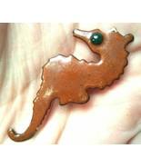 """Cute Vintage Enamel Copper Seahorse Sea horse Pin Brooch 1.5"""" - $19.79"""