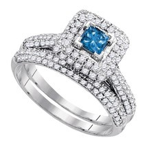 14k White Gold Princess Blue Diamond Bridal Wedding Engagement Ring Set ... - £929.16 GBP