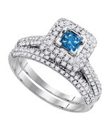 14k White Gold Princess Blue Diamond Bridal Wedding Engagement Ring Set ... - £930.98 GBP