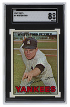 Whitey Ford New York Yankees 1967 Topps #5 Slabbed Baseball Card SGC 8 NM-MT - $494.99