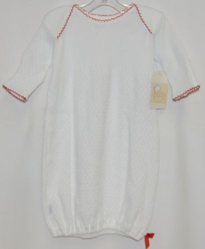 Paty Inc 15H1156 Long Sleeve Lap Shoulder Gown White With Red Trim Size 6 Months