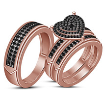 14k Rose Gold Fn 2ct Black Simulated Diamond Trio Engagement Trio Trio Ring Set  - $120.00