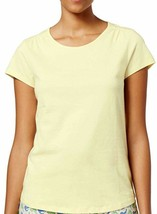 Top M Charter Club NWT Cotton T-shirt Short Sleeve Lite Yellow top TM475 - $25.43